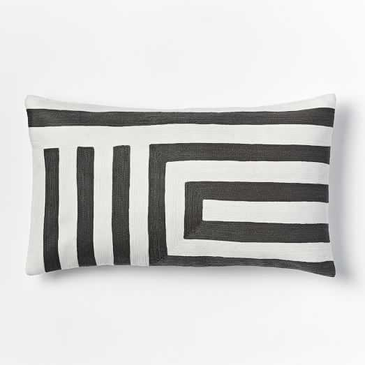 """Zigzag Pillow Cover - Slate- 12""""w x 21""""l- Insert Sold Separately - West Elm"""