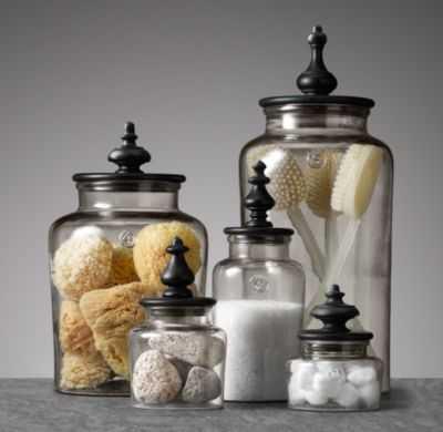 TURNED FINIAL GLASS JAR COLLECTION-Medium - RH