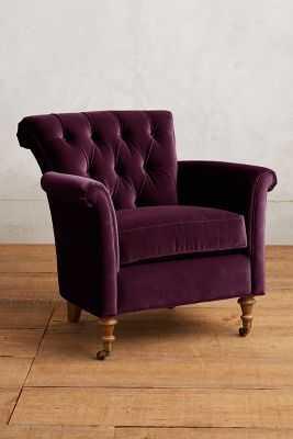 Velvet Gwinnette Chair - Mulberry - Anthropologie