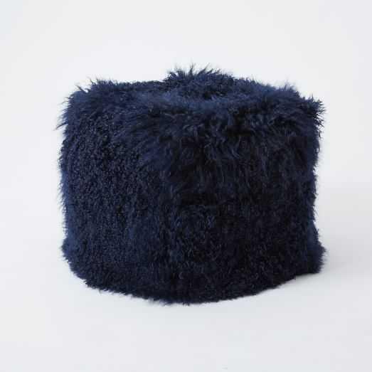 Mongolian Lamb Pouf - Cover + Insert - Velvet Ink - West Elm