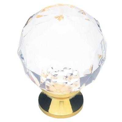 Brass with Clear Faceted Acrylic Ball Cabinet Knob - Home Depot