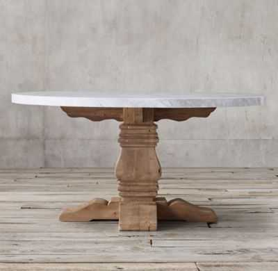 SALVAGED WOOD & MARBLE TRESTLE ROUND DINING TABLE - RH