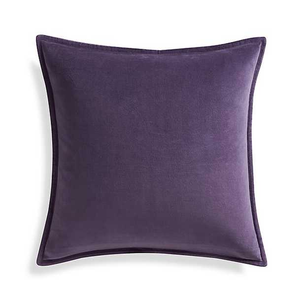 """Brenner Grape Purple 20"""" Velvet Pillow with Feather-Down Insert - Crate and Barrel"""