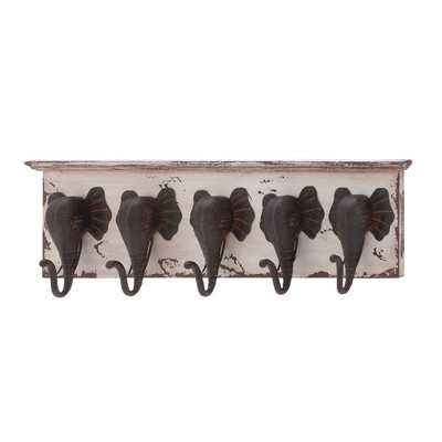 Wood & Metal Elephant Wall Hooks - Wayfair