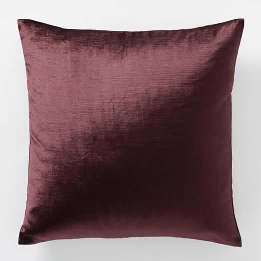 Luster Velvet Pillow Cover - Currant - West Elm