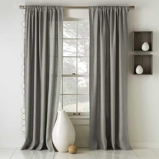 """Linen Cotton Curtain - Set of 2, Blackout Lining, 96""""L - West Elm"""