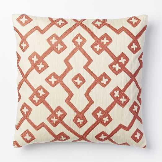 Crewel Lattice Pillow Cover - Rose Bisque (no insert) - West Elm