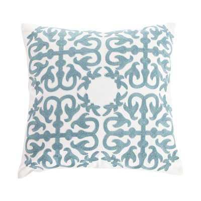 """Embroidery Eastern Throw Pillow -Blue-18""""x18""""-Insert - Wayfair"""
