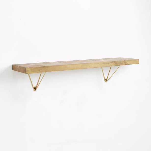 Reclaimed Wood Shelf 3Ft + Antique Brass Prism Bracket - West Elm