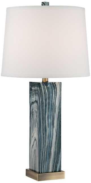 Parrish Blue Faux Marble Column Table Lamp - Lamps Plus