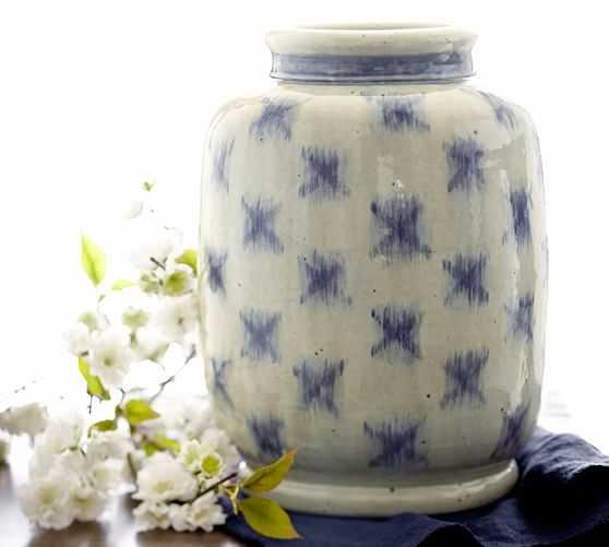 BLUE IKAT TERRA COTTA VASE - Pottery Barn