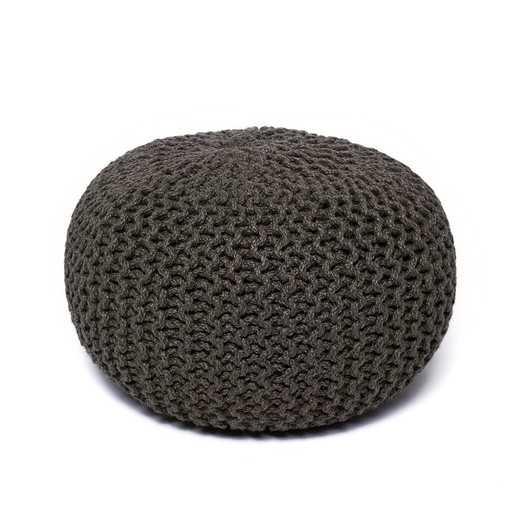 Corded Jute Round Pouf Ottoman - Gray - AllModern