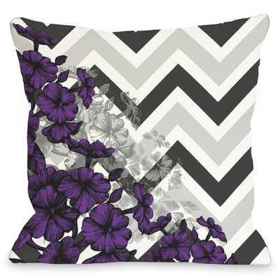 "Amber Chevron Floral Throw Pillow - Purple - 18"" x 18"" - Polyester Insert - Wayfair"