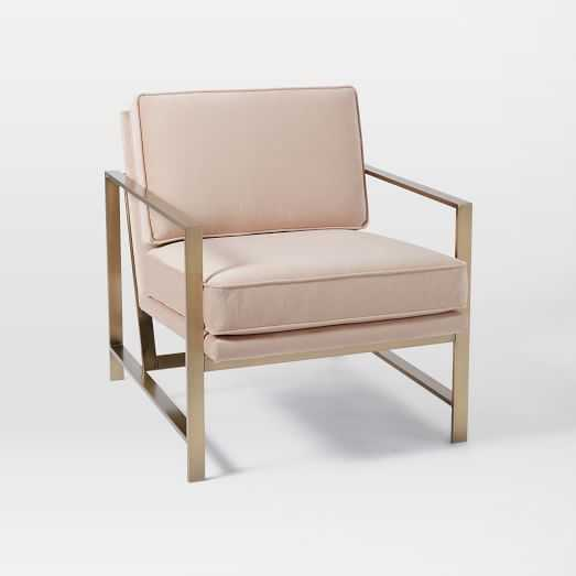 Metal Frame Upholstered Chair - Luster Velvet, Dusty Blush - West Elm