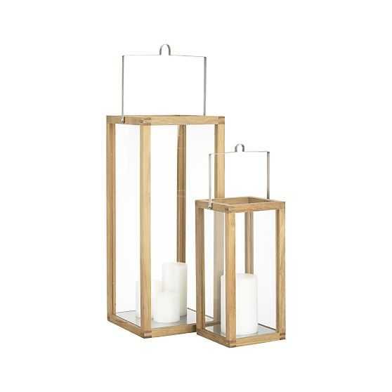 Crosby Teak Wood Lanterns - Crate and Barrel