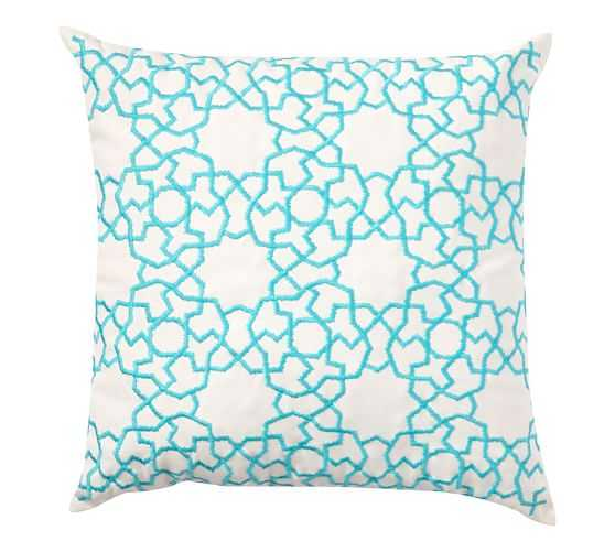 Outdoor Astrid Trellis Embroidered Pillow- Blue, 20x20, With Insert - Pottery Barn