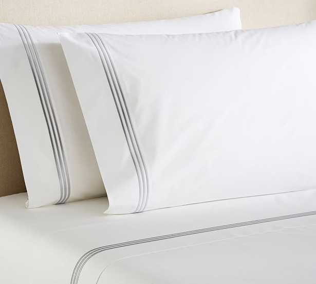 Grand Embroidered Sheet Set - King, Gray-Mist - Pottery Barn