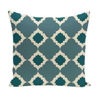 """Medina Geometric Print Throw Pillow - Aqua - 20"""" H x 20"""" W - Wayfair"""