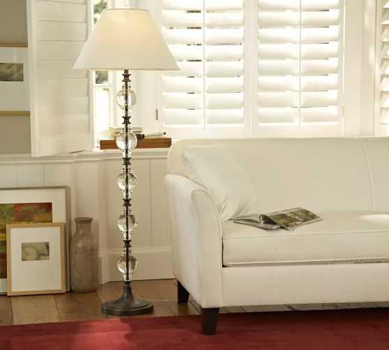 CFL Marston Crystal Floor Lamp Base - shade sold separately - Pottery Barn
