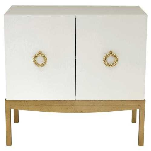 Crawford Pearl White Hollywood Gold Leaf Cabinet - Kathy Kuo Home