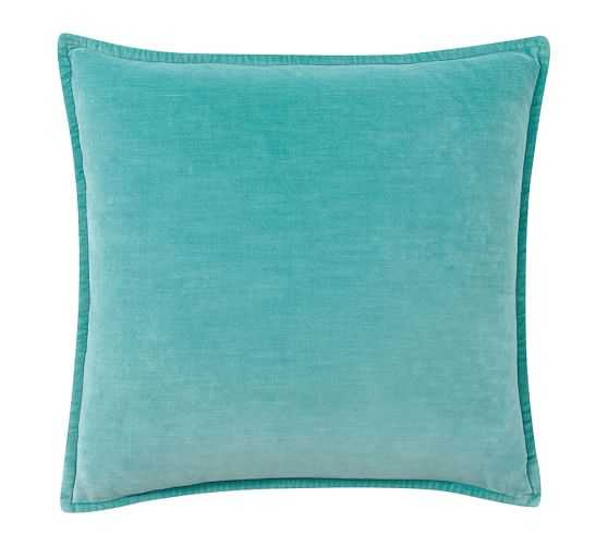 """WASHED VELVET PILLOW COVER - POOL BLUE; 20"""" x 20"""" (No Insert) - Pottery Barn"""
