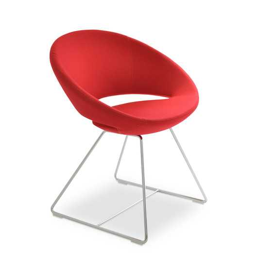 Crescent Wire Side Chair-Chrome -Leatherette-Red - AllModern
