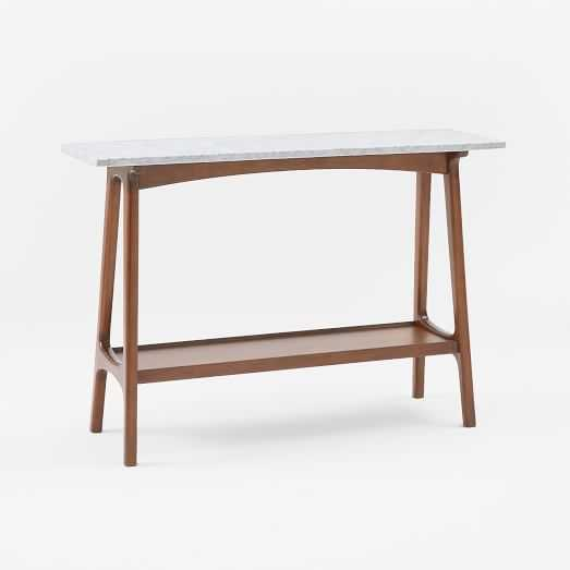 Reeve Mid-Century Console, Marble/Pecan - West Elm