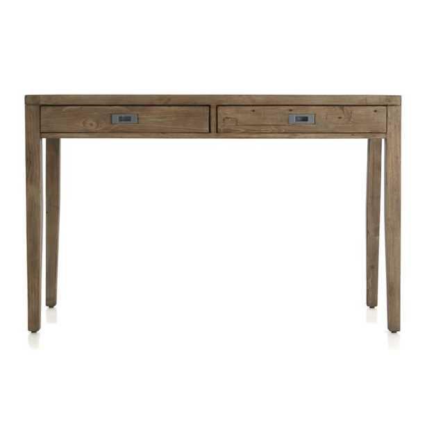 "Morris 48"" Ash Grey Reclaimed Wood Desk - Crate and Barrel"