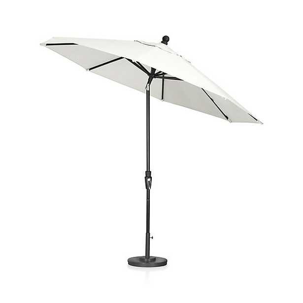 9' Round Sunbrella ® White Sand Patio Umbrella with Tilt Black Frame - Crate and Barrel