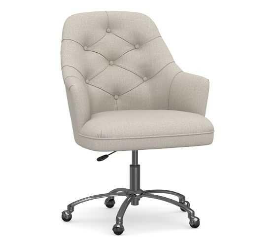 Everett Upholstered Desk Chair, Polished Nickel Swivel Base, Performance Heathered Tweed Pebble - Pottery Barn