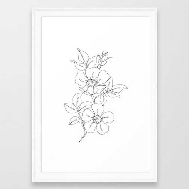 Floral one line drawing - Rose Framed Art Print by Thecolourstudy - Society6