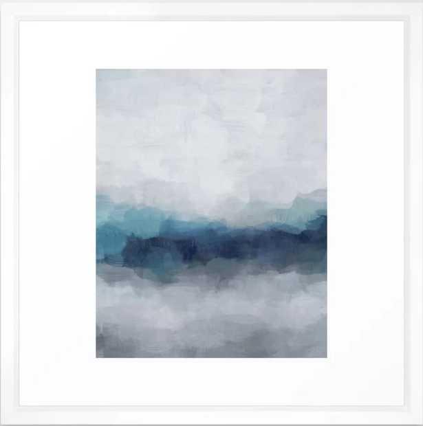 "Indigo Navy Ocean Horizon, Sky Gray Blue Abstract Nature Ocean Rainy Cloudy Sunrise Water Art Print Framed Art Print, 22"" X 22"", Vector White - Society6"