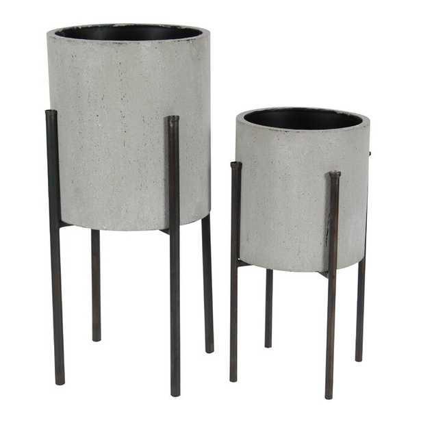 Bissonnette 2-Piece Iron Pot Planter Set - AllModern