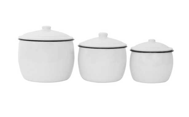 ENAMELED WHITE CANISTERS (SET OF 3) - McGee & Co.