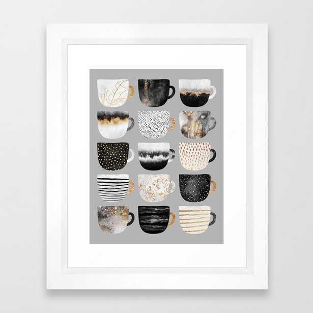 Pretty Coffe Cups 3 - Grey Framed Art Print - Society6