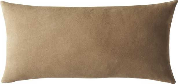Suede Camel Tan Pillow  with Down-Alternative Insert - CB2
