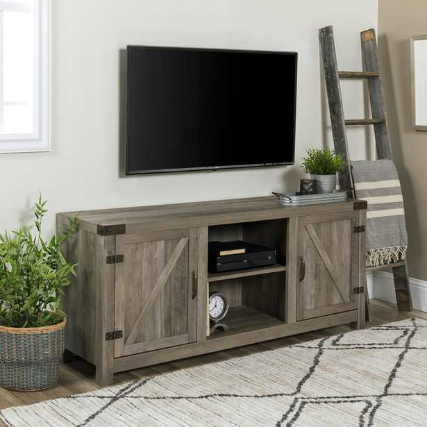 """Adalberto TV Stand for TVs up to 65"""" with optional Fireplace, Gray Wash - Birch Lane"""