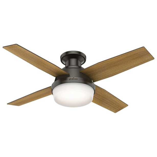 """44"""" Dempsey Low Profile 4-Blade Ceiling Fan with Remote, Light Kit Included - AllModern"""