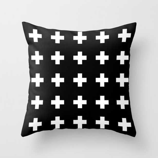 Swiss Cross Black Throw Pillow - Society6