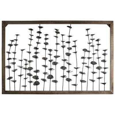 Framed Metal Flower Leaves Sculpture Wall Art Farmhouse Wall Décor - Birch Lane