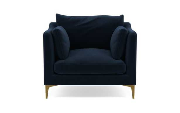 Caitlin by The Everygirl Chairs in Navy Fabric with Brass Plated legs - Interior Define