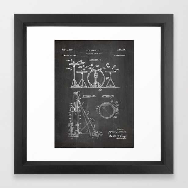 Drum Set Patent - Drummer Art - Black Chalkboard Framed Art Print - Society6
