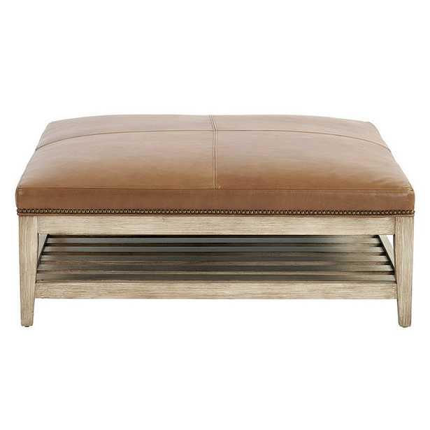 Ballard Designs Carmen Leather Ottoman with Brass Nailheads Latte (wood finish not shown) - Ballard Designs