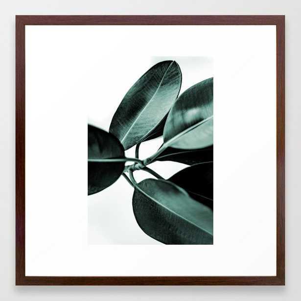 Minimal Rubber Plant Framed Art Print - 22 x 22 - Conservative Walnut - Society6