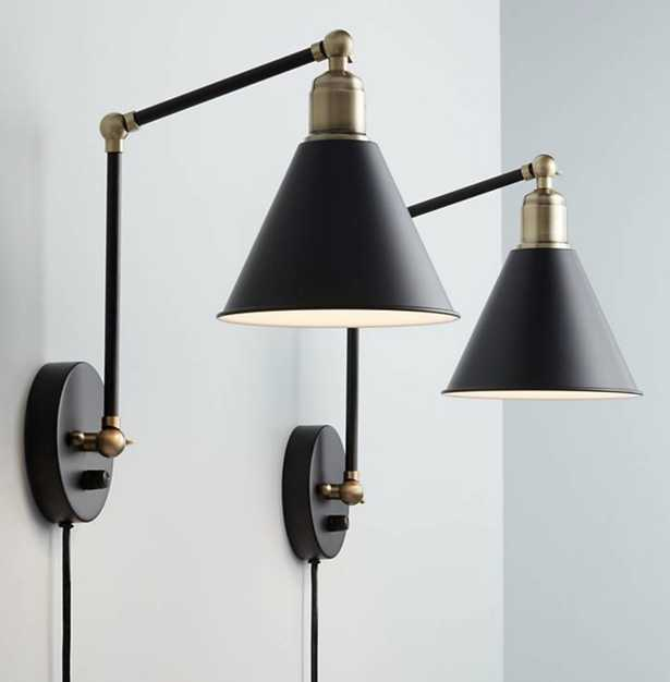 Wray Black and Antique Brass Plug-In Wall Lamp Set of 2 - Lamps Plus