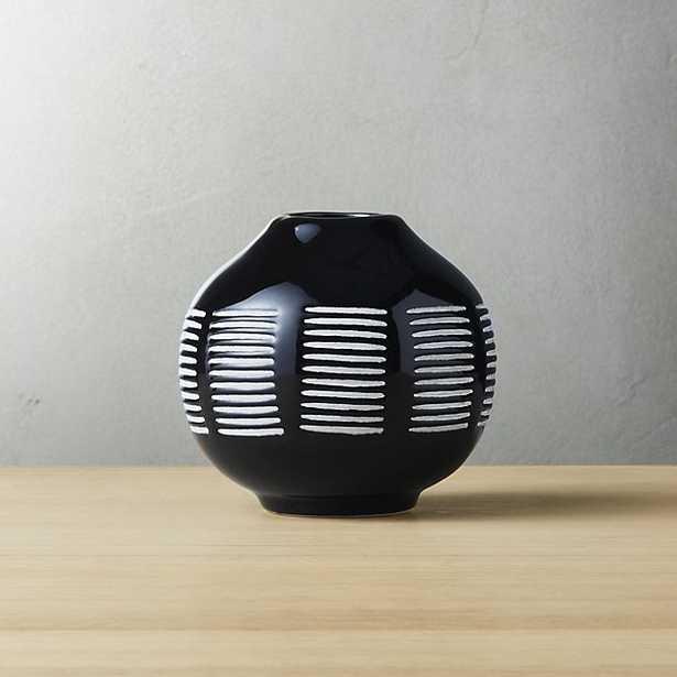 "stitch black and white ceramic vase - 4.25""H - CB2"