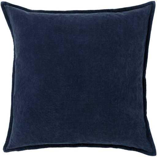 """Cotton Velvet CV-009-  Navy- Pillow Shell with down insert - 18"""" - Neva Home"""