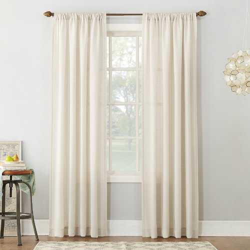 "Berwick Textured Solid Semi-Sheer Rod Pocket Single Curtain Panel - 84"" - Wayfair"