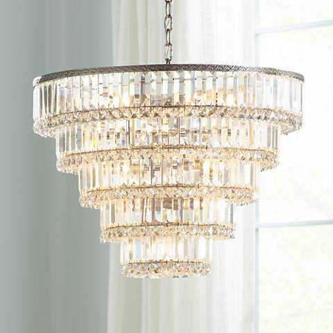 """Magnificence Satin Nickel 24 1/2"""" Wide Crystal Ceiling Light - Lamps Plus"""