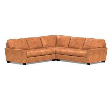 Turner Square Arm Leather 3-Piece L-Shaped Corner Sectional, Down Blend Wrapped Cushions, Leather Statesville Caramel - Pottery Barn
